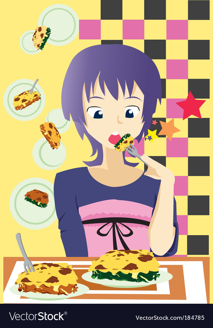 Eat lasagna vector image