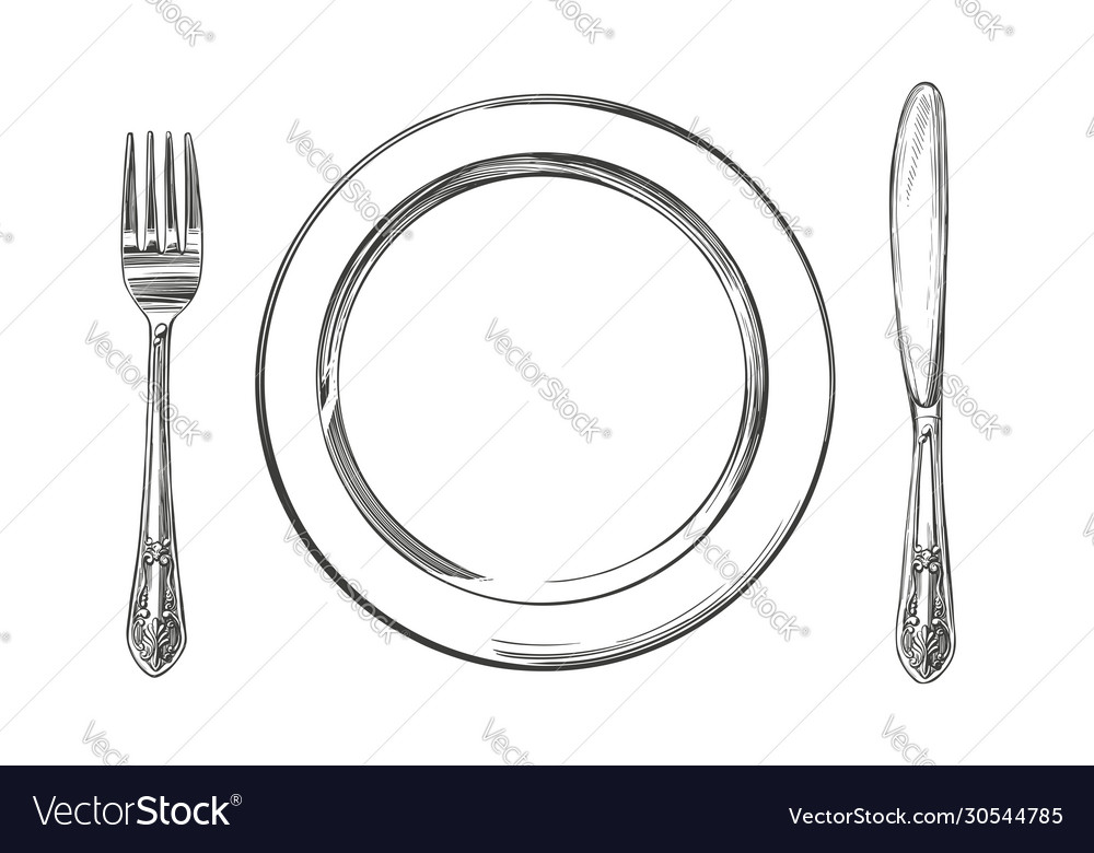 Empty plate cutlery knife and fork time to eat