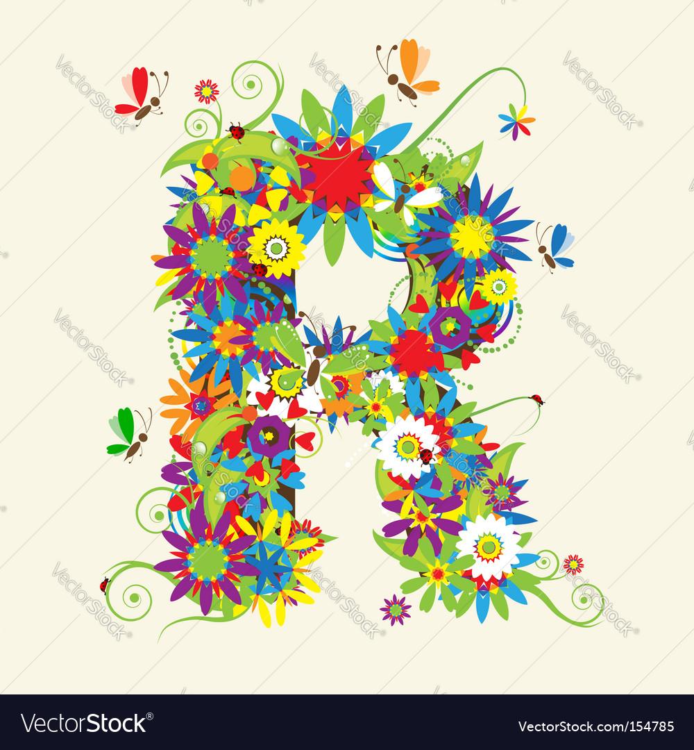 Letter R Floral Design Royalty Free Vector Image