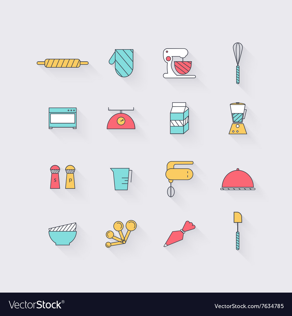 Line icons set in flat design Elements of Cooking