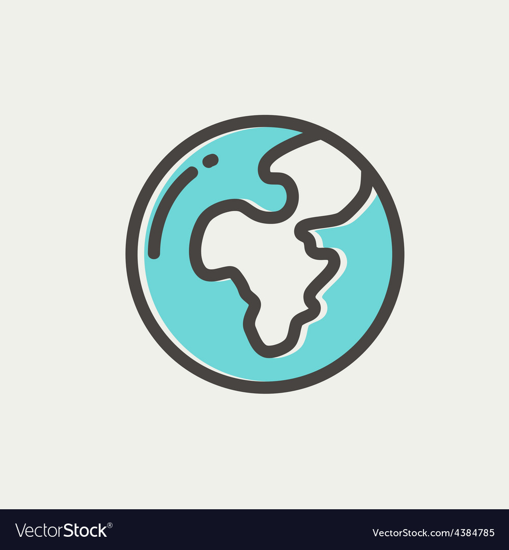 Modern globe thin line icon vector image