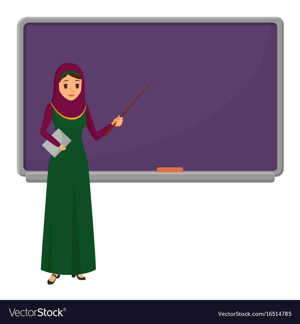 Muslim woman teacher standing in front of