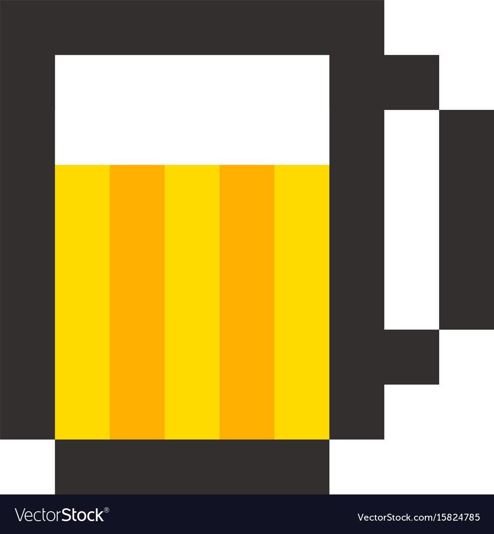 Pixel beer glass template vintage brewery sign