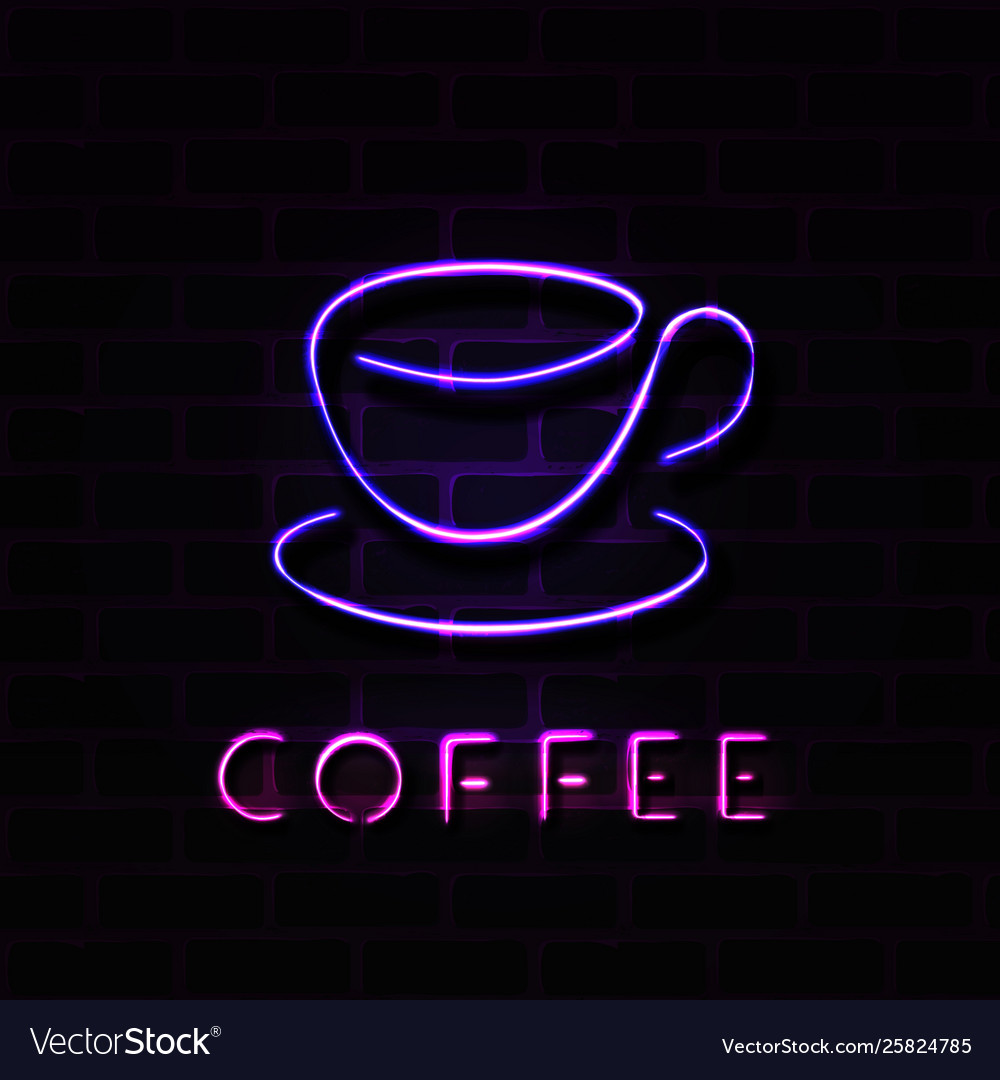 Realistic neon coffee cup sign