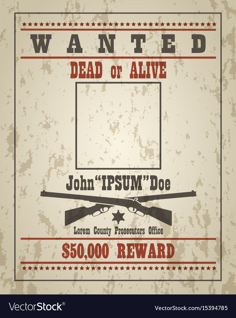 Retro Wanted Poster Template Royalty Free Vector Image