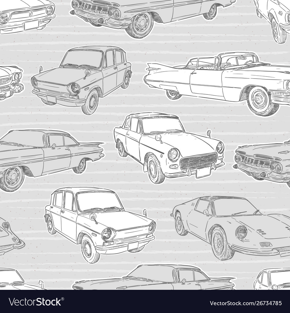 Seamless pattern with cars retro car