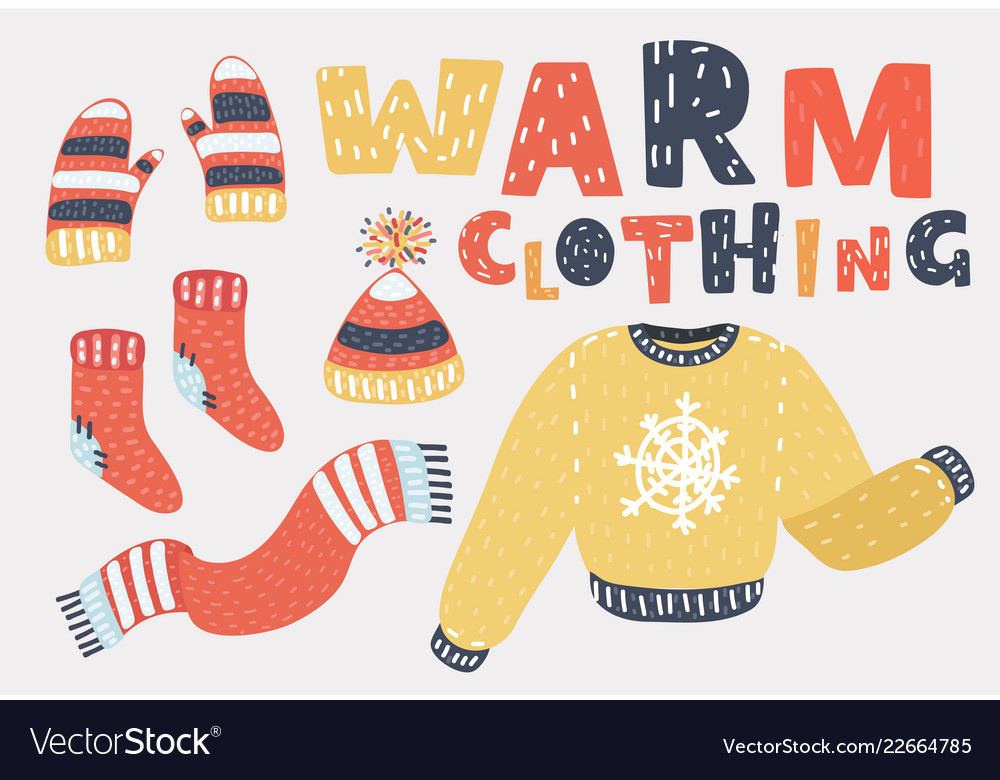 Set Of Winter Warm Clothes Cold Season Clothing