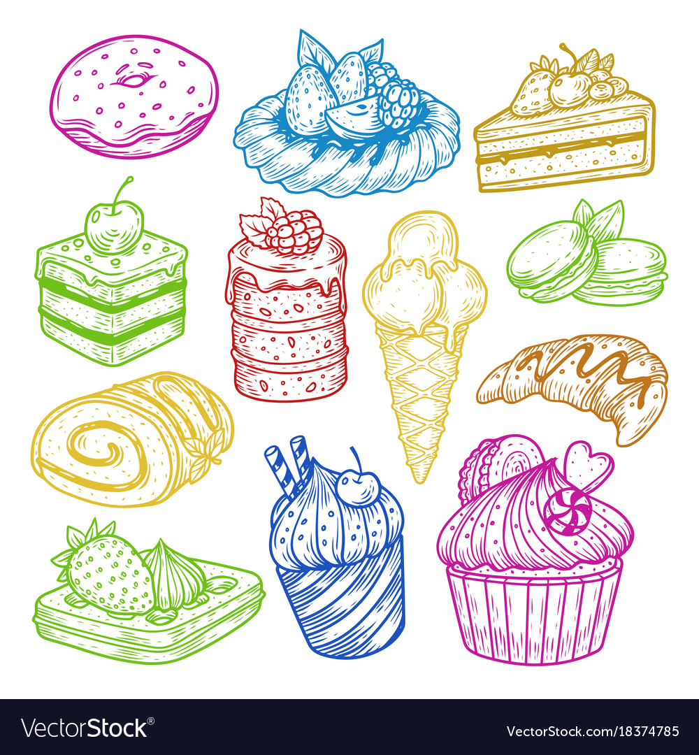 Sweeties sketches pastry and bakery cake