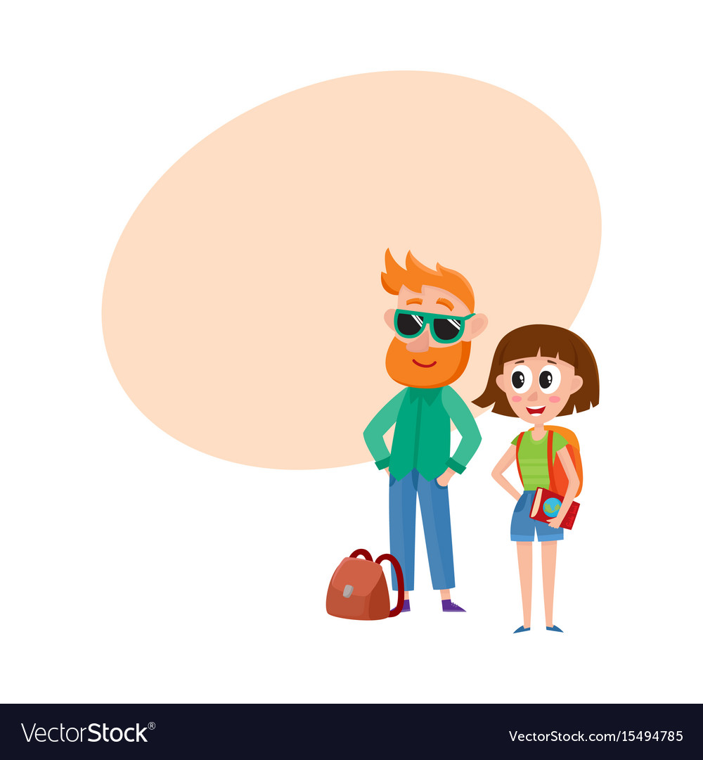 Tourists man in sunglasses and woman with