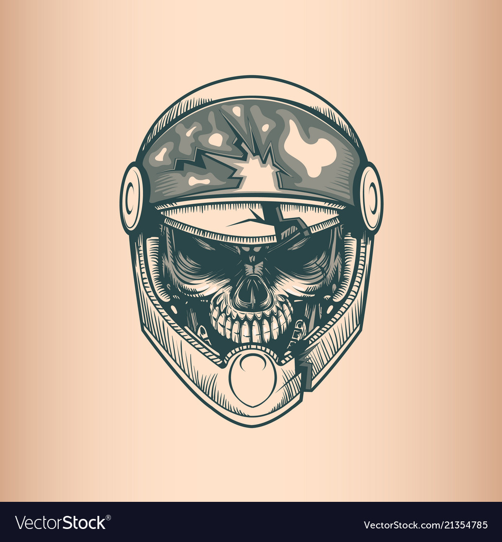 Vintage racer skull monochrome hand drawn tatoo