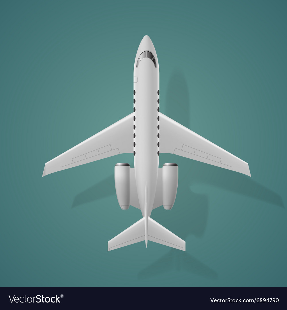 Airplane top view isolated background