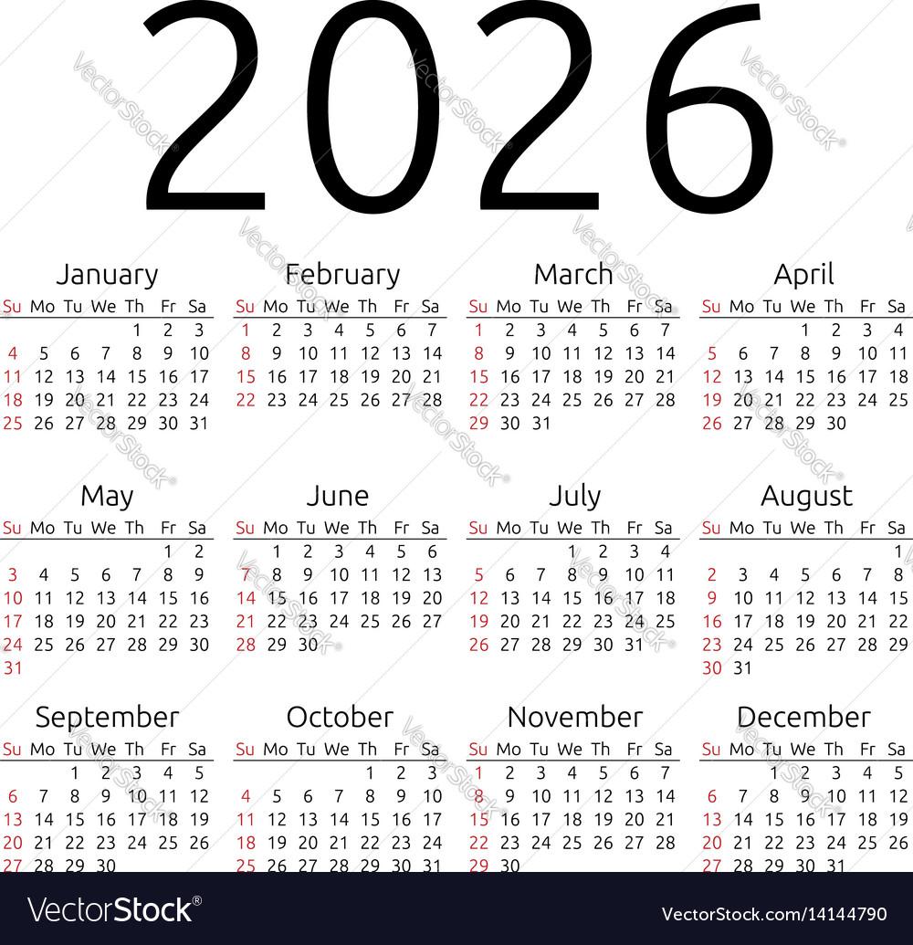 Calendar 2026 sunday vector image