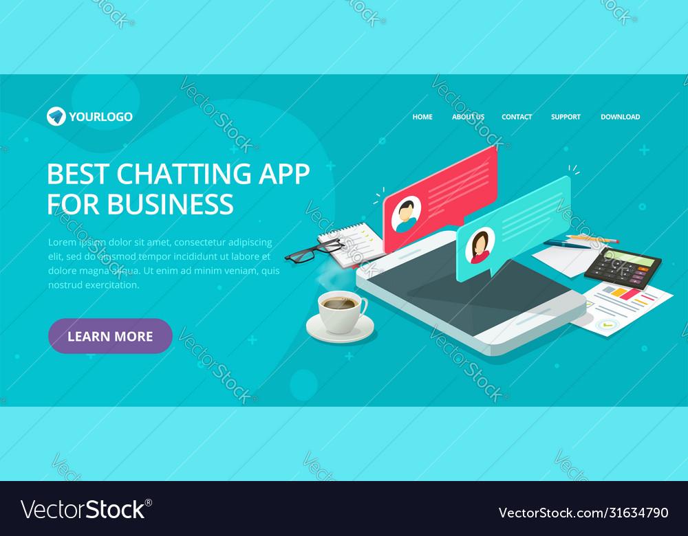 Chat text messaging app website template design