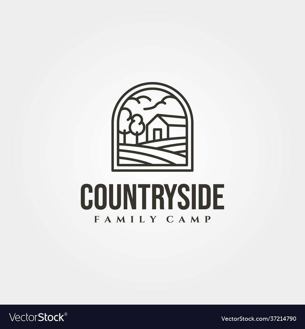 Countryside cabin logo symbol design line art