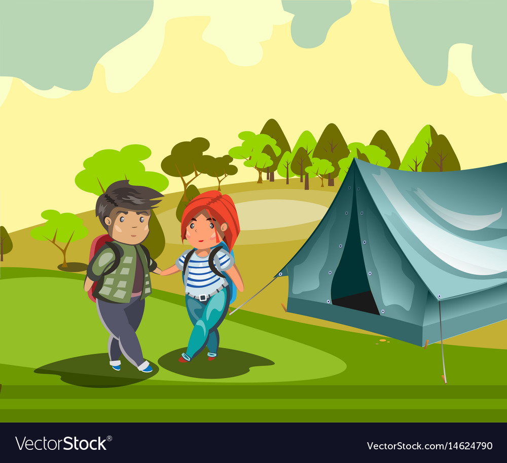Couple tourist with tent