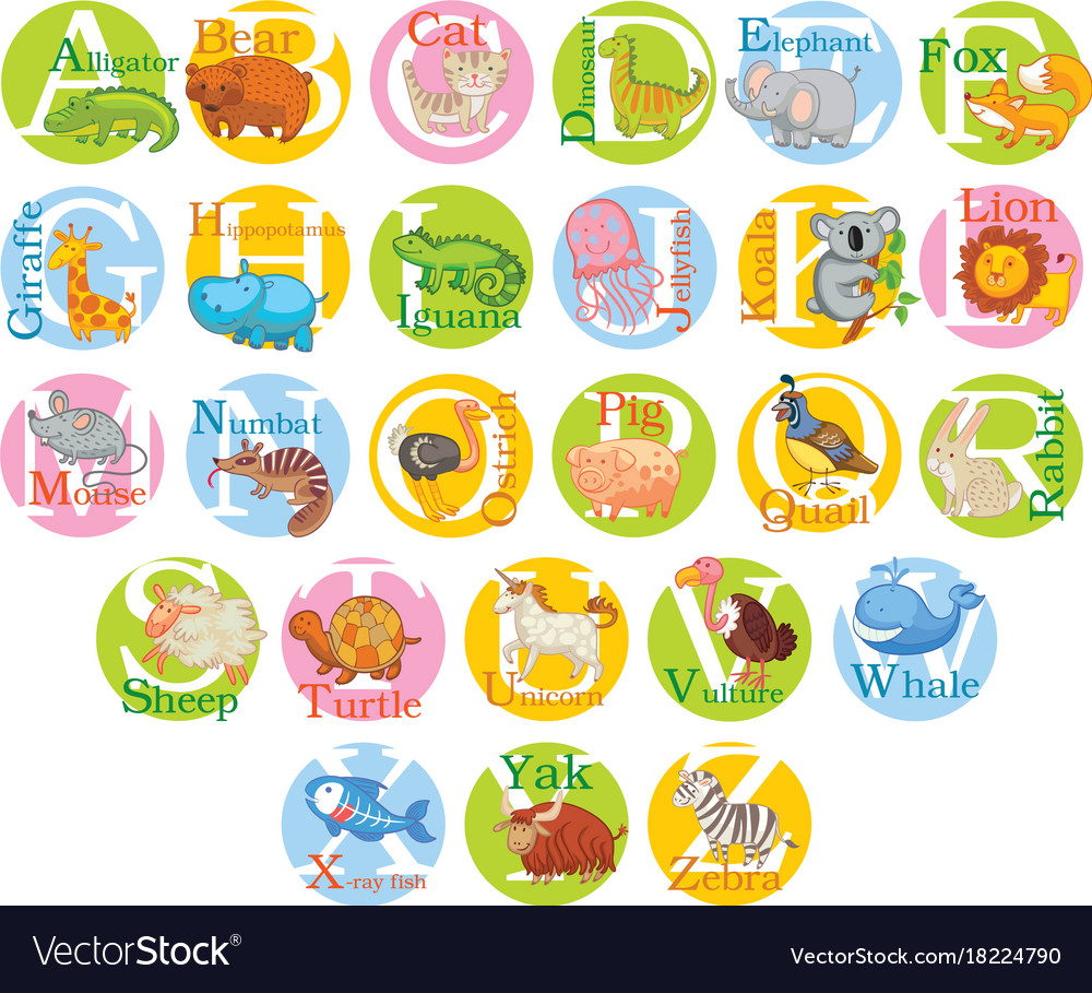 Cute animal alphabet set