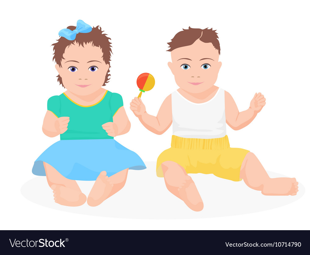 Cute funny baby boy and girl sitting together
