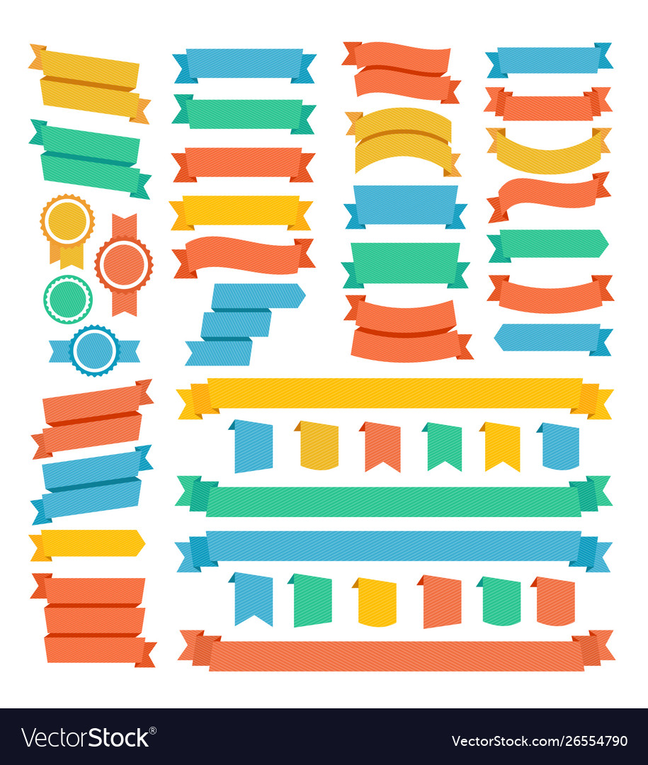 Different types decoration color ribbon set