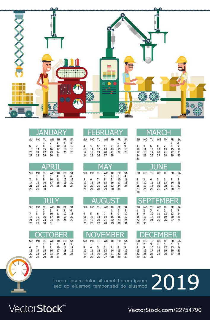 Flat industrial 2019 year calendar template