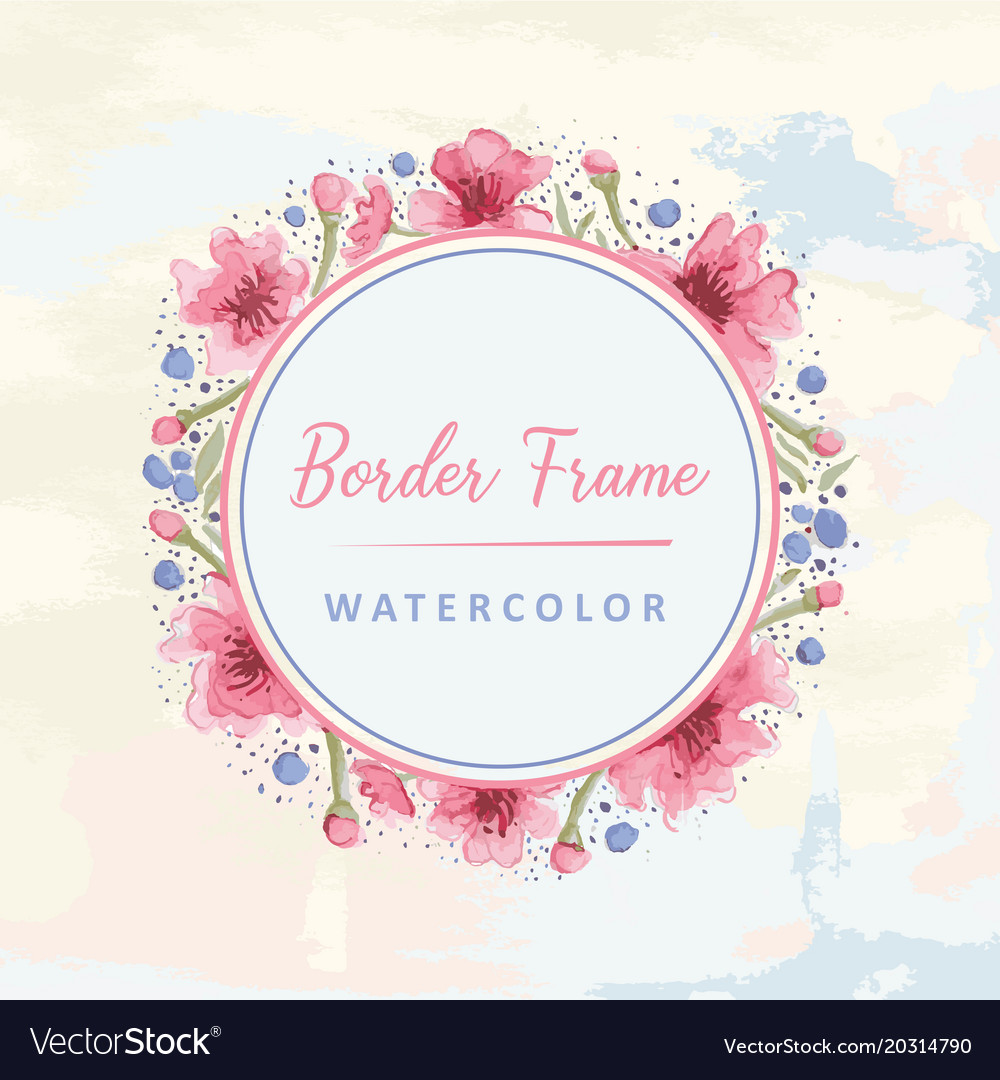 Floral round border watercolor Royalty Free Vector Image