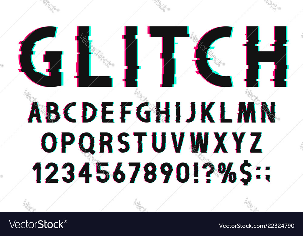 Glitch font with distorted effect in 80s and 90s