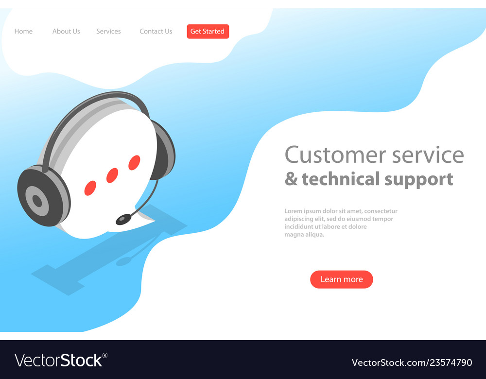 Isometric flat land page template of