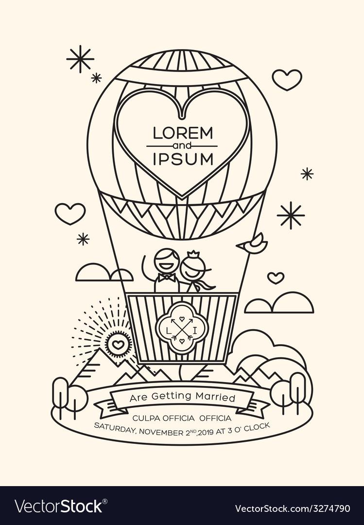 Modern wedding invitation with line art style Vector Image