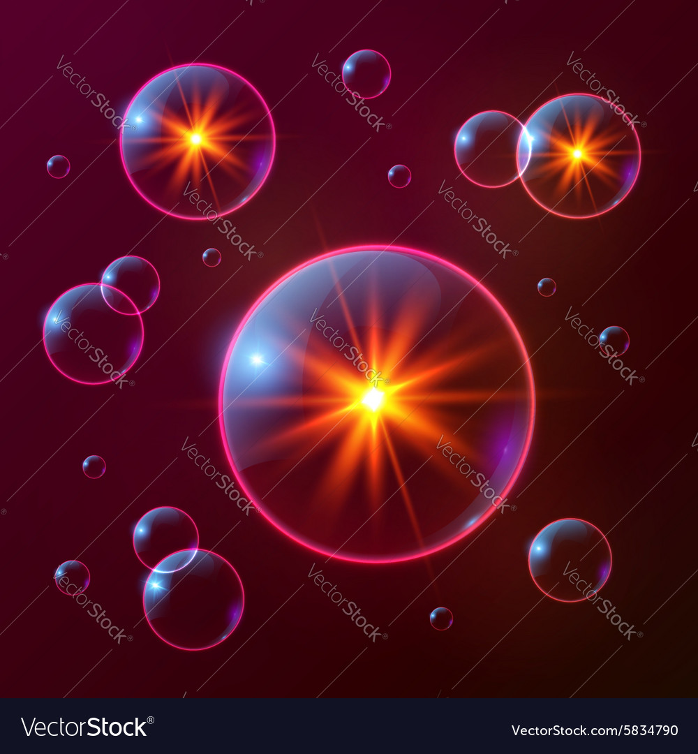 Red shining cosmic bubbles with orange lights