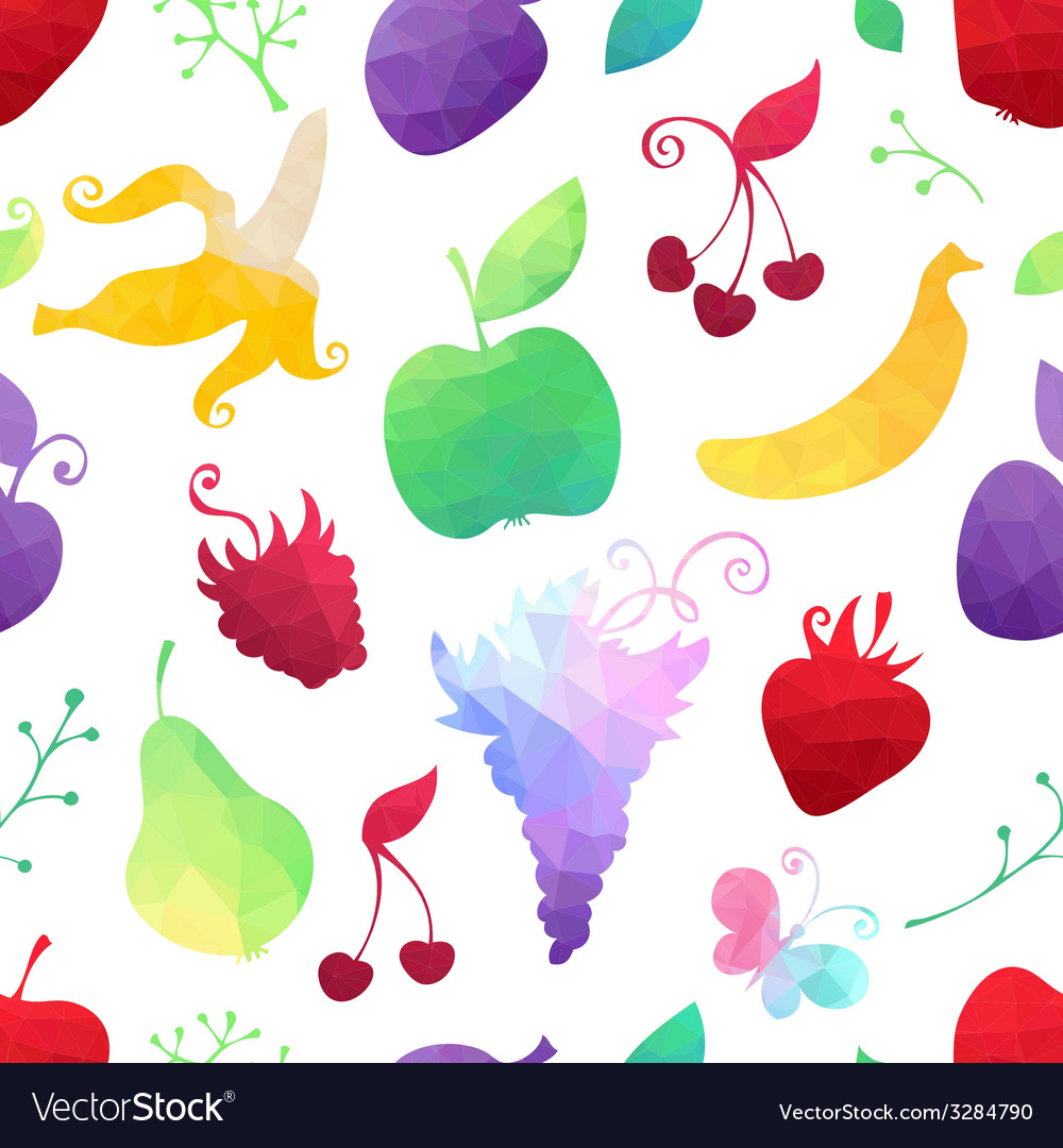 Seamless pattern of geometric fruits vector image