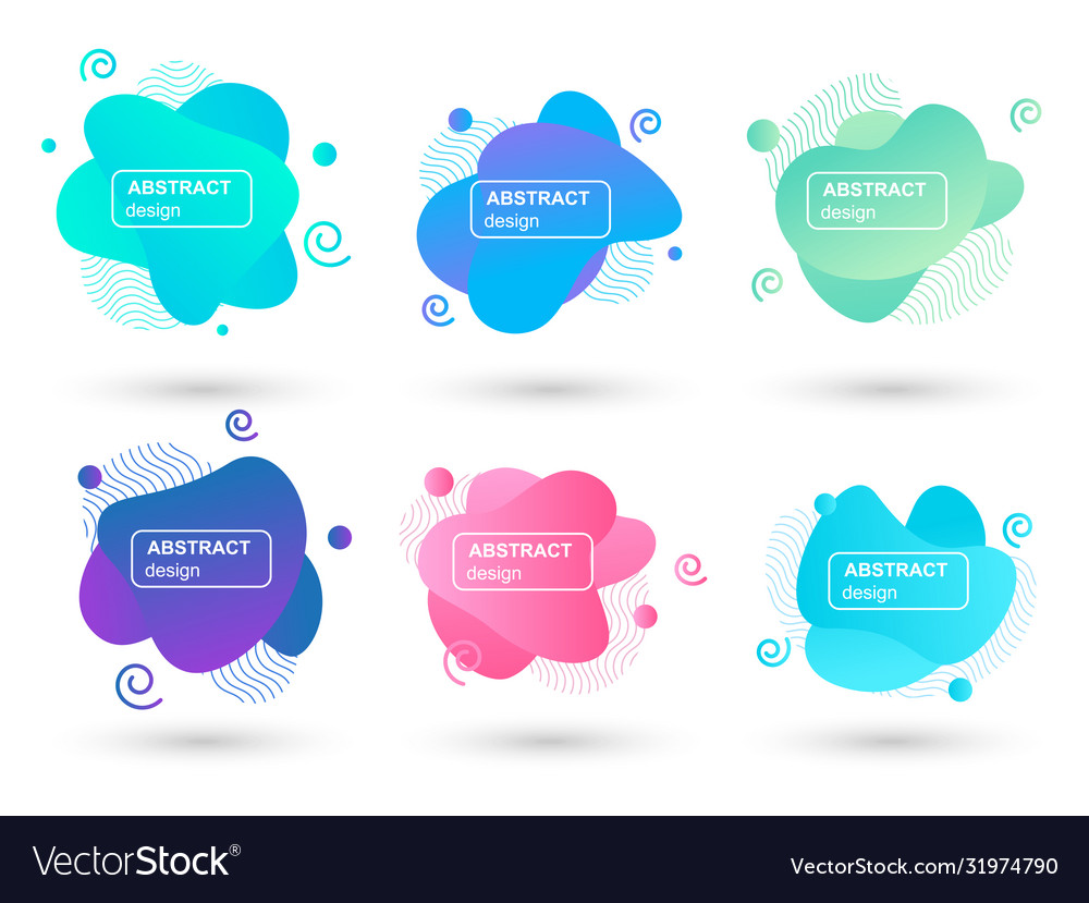 Set abstract liquid shapes modern graphic