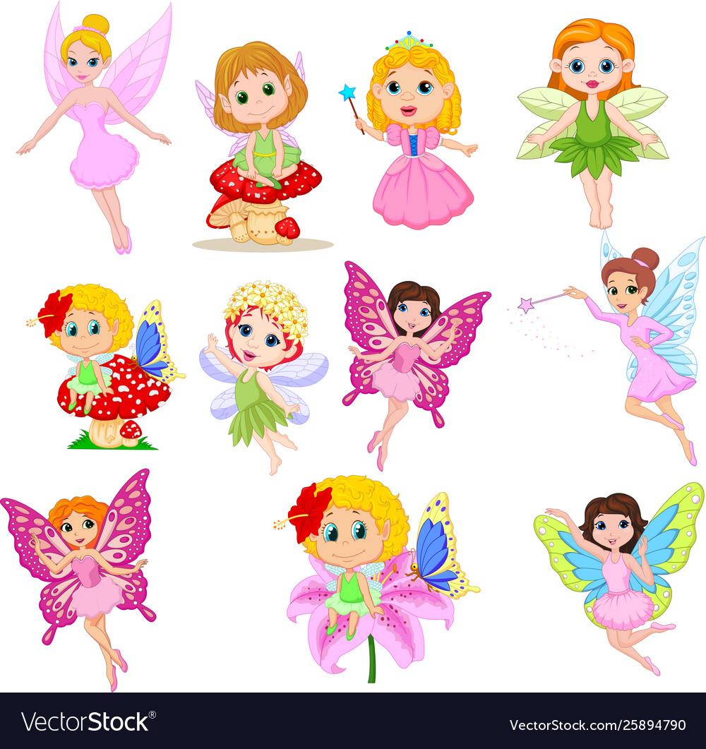 Set cute beautiful fairies cartoon isolated