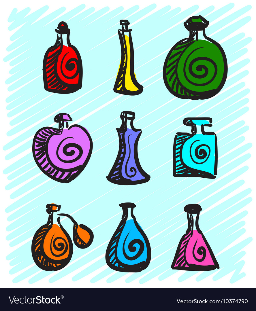 Set of colorful bottles with spirits hand-drawn on