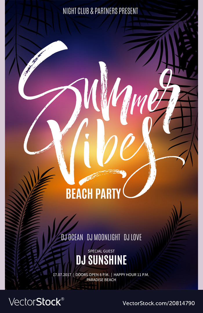 Summer vibes beach party flyer