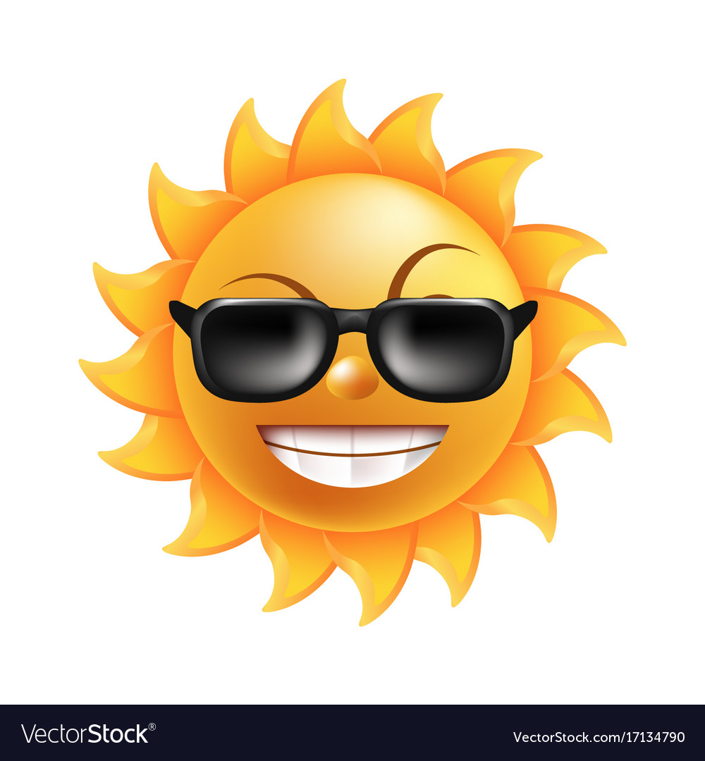 Sun with funny face in sunglasses isolated
