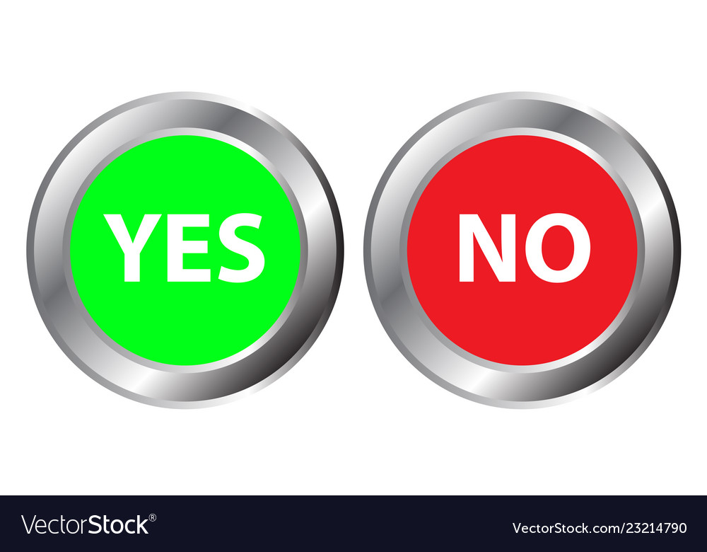 Yes and no button symbol the mark is correct and