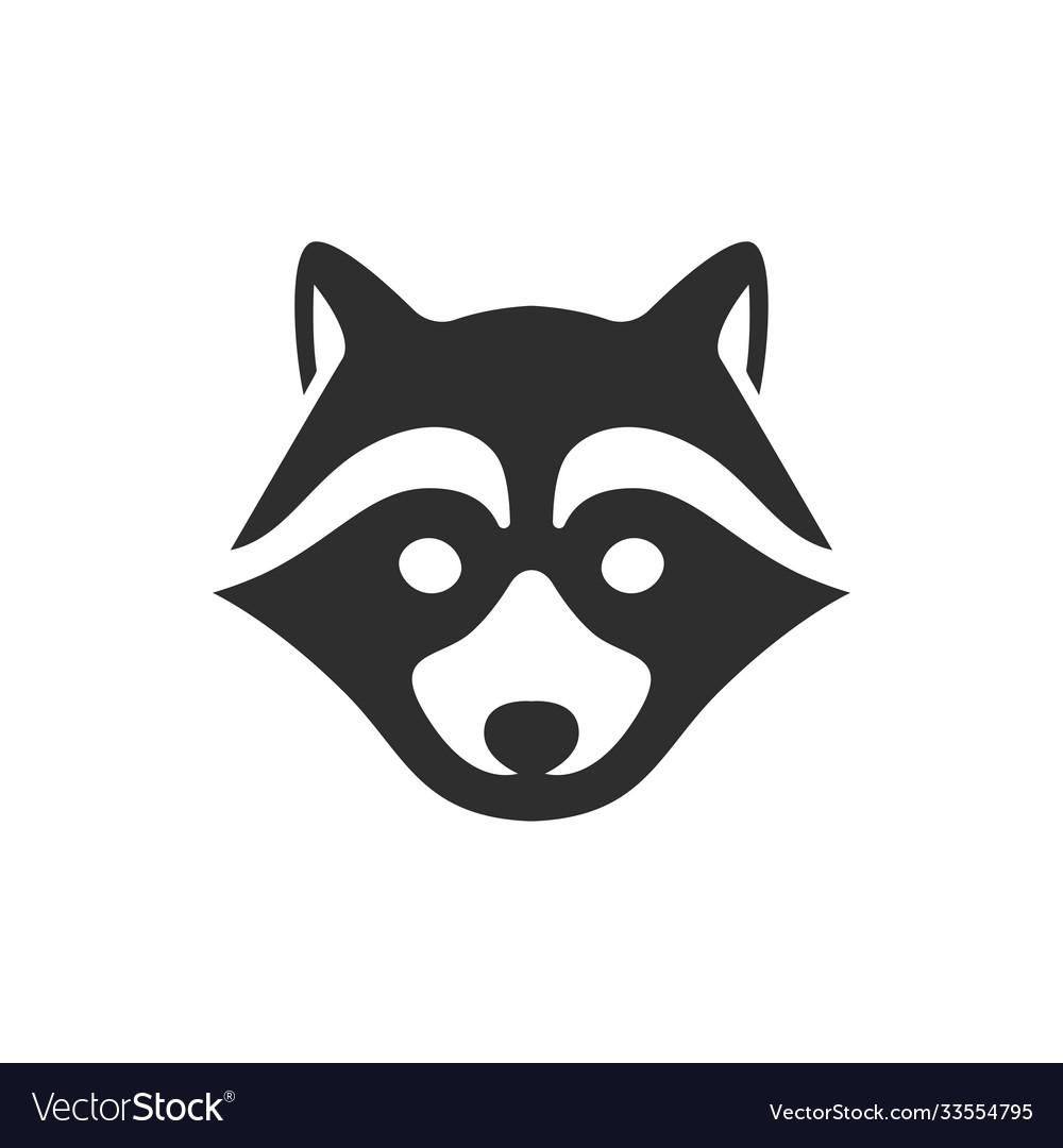 Black raccoon icon isolated on white background