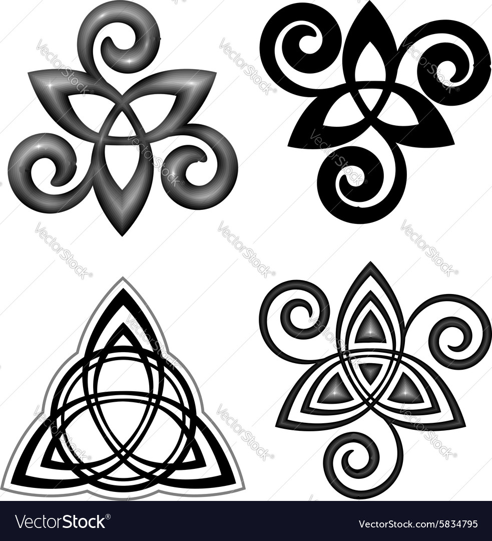 Celtic triskel symbols set vector image