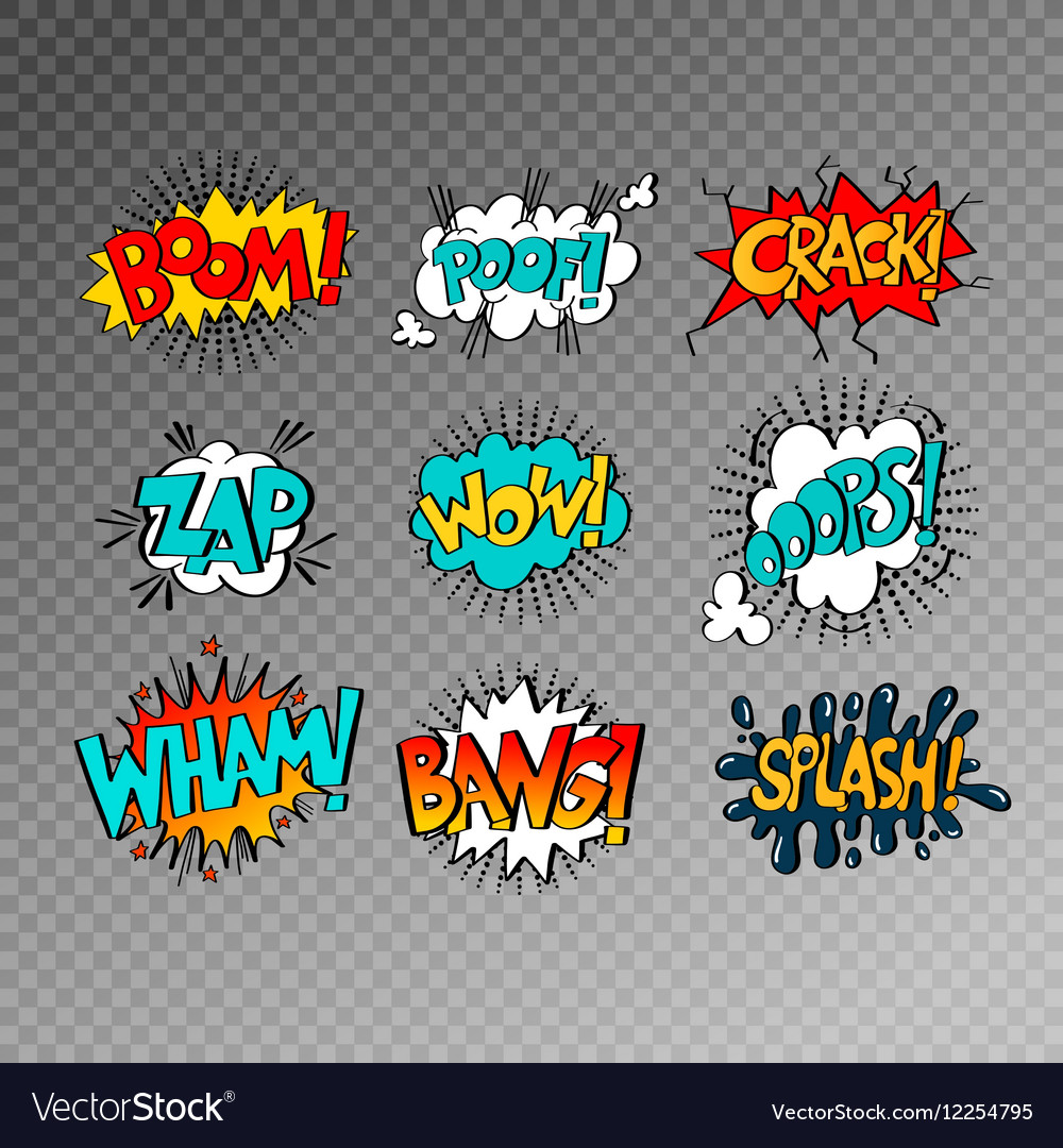 Collection of nine multicolored comic sound