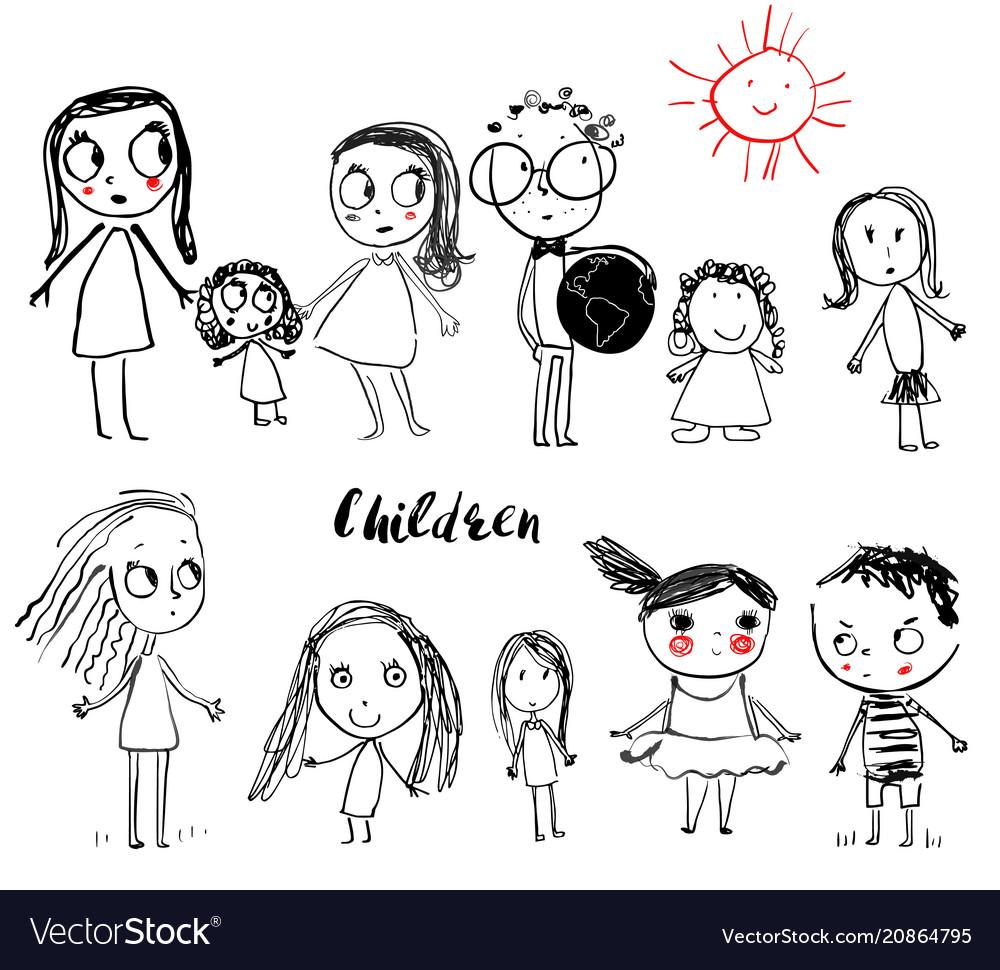 Cute doodle children