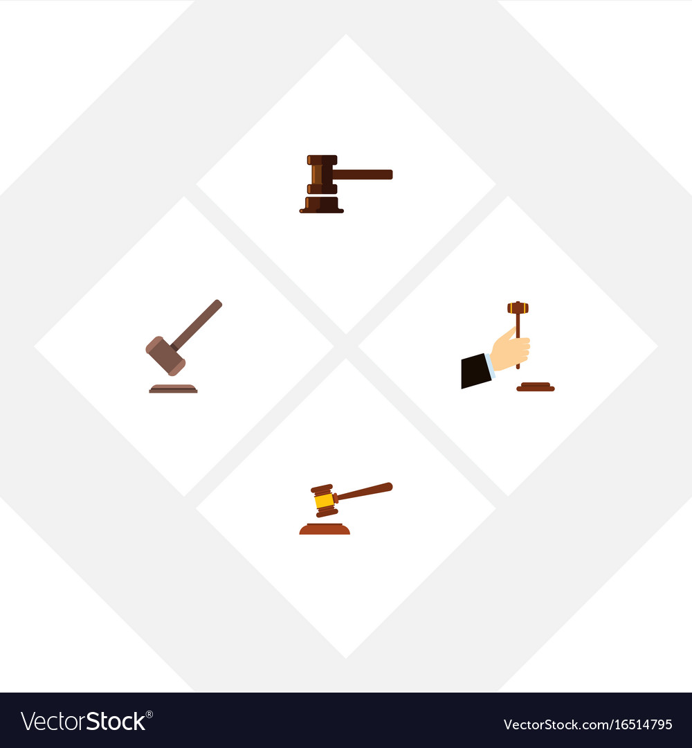 Flat icon hammer set of tribunal hammer law and