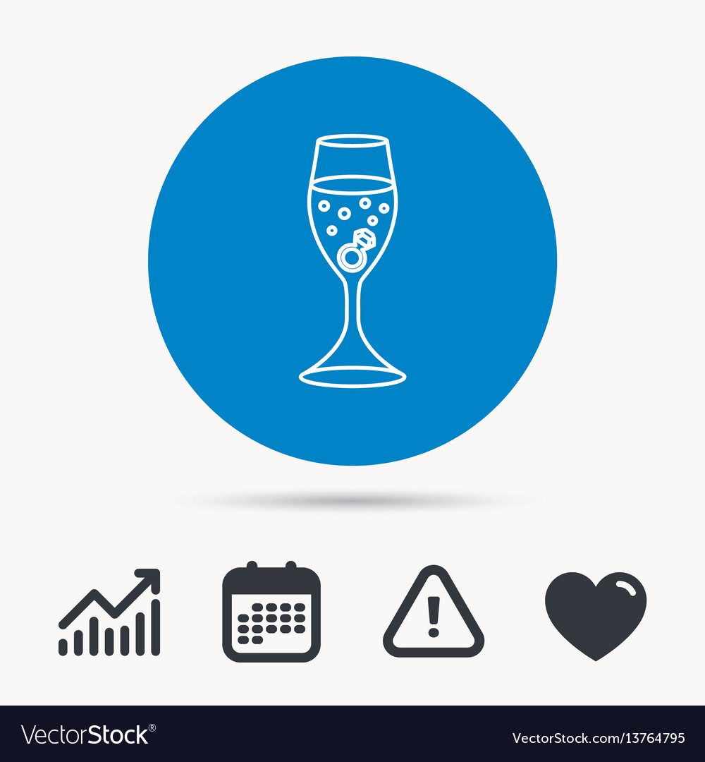 Glass with ring icon engagement symbol vector image