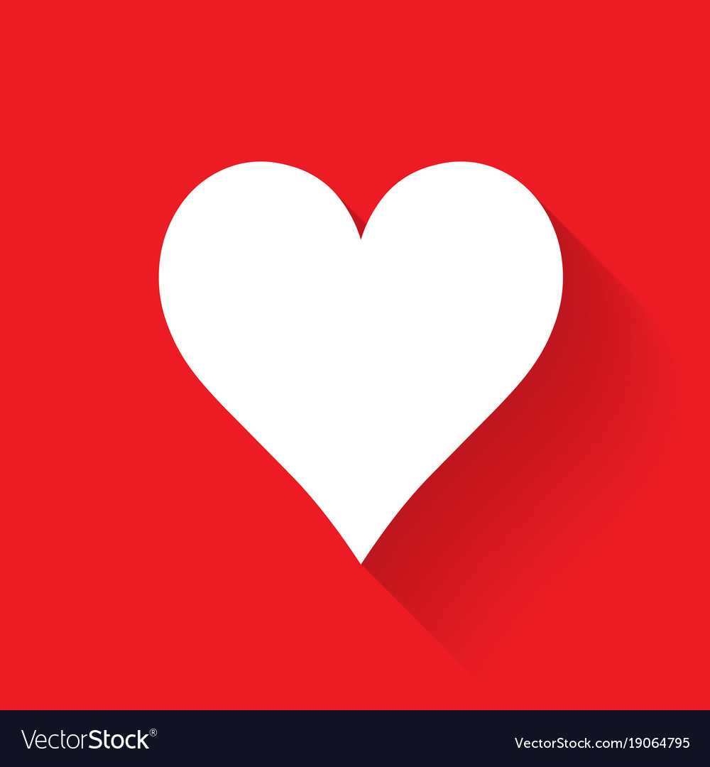 Heart poker suit symbol white sign on red vector image