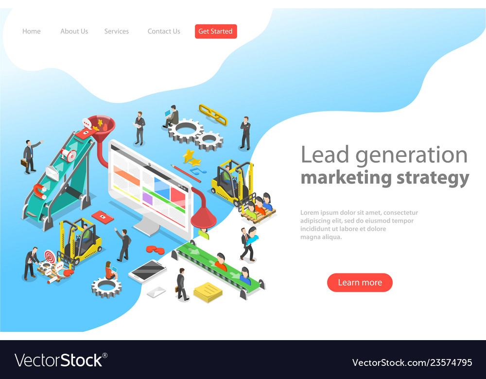Isometric flat concept of lead generation