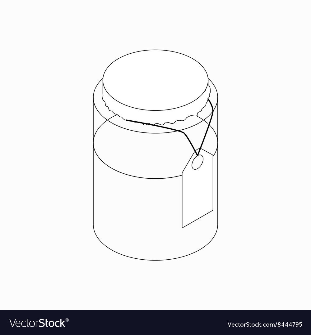 Jar with tag icon isometric 3d style vector image