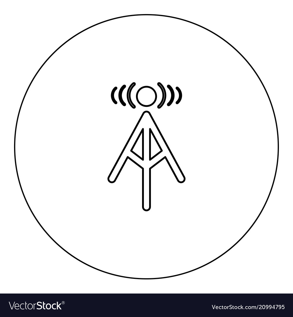 Radio tower icon black color in circle isolated
