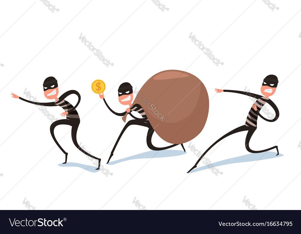 Thief flat character design bandit with big bag vector image