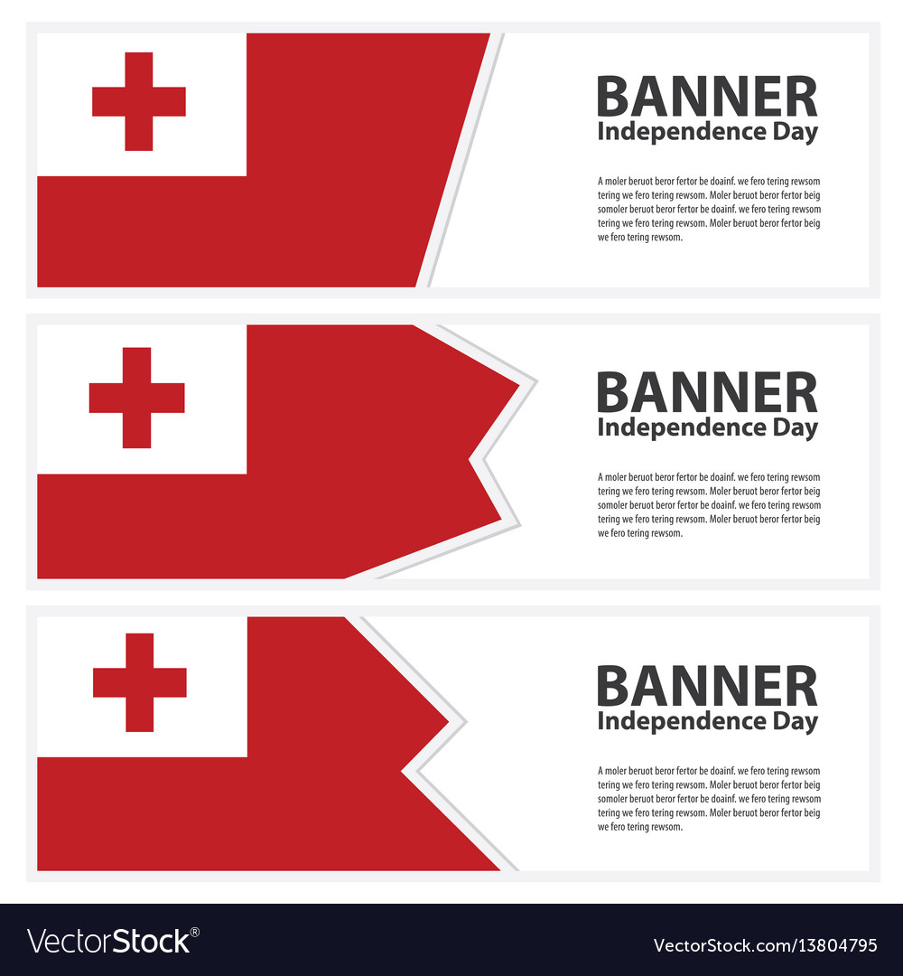 Tonga flag banners collection independence day vector image