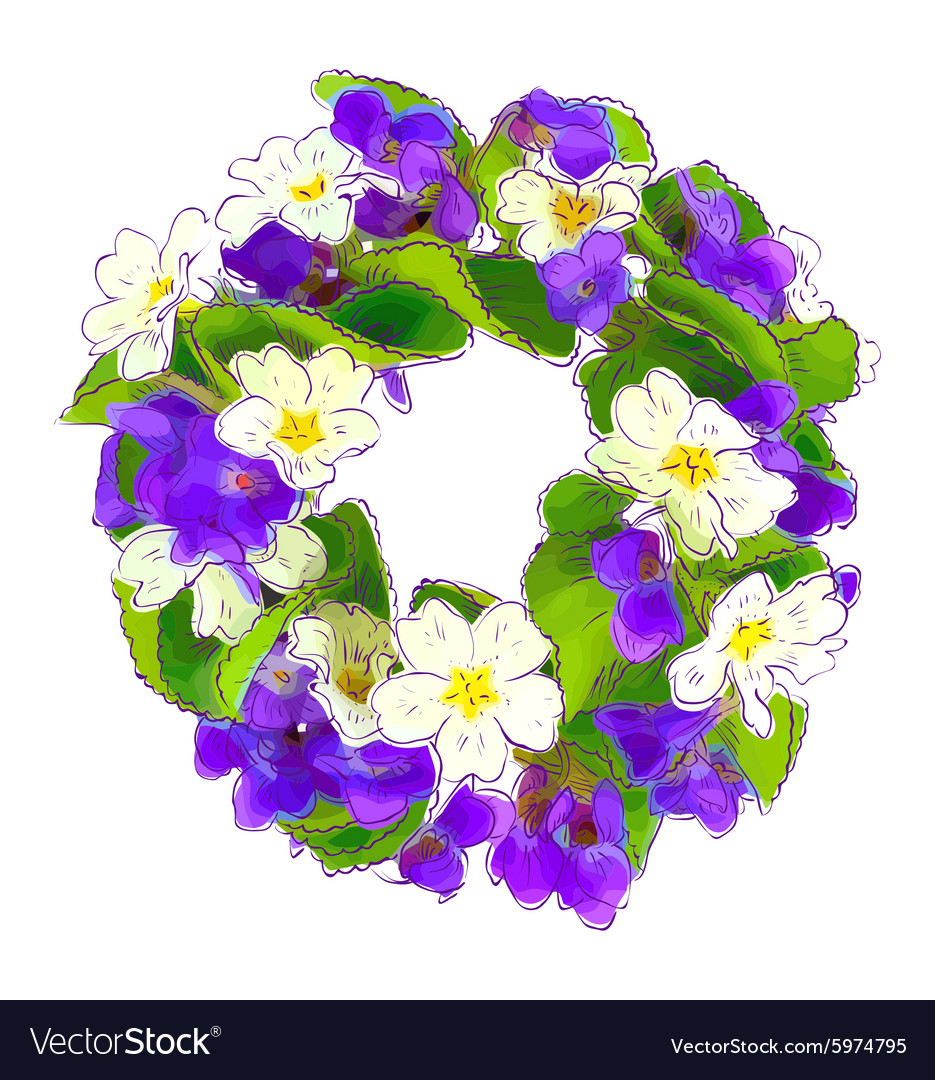 Wreath of woodland violets and primula vector image