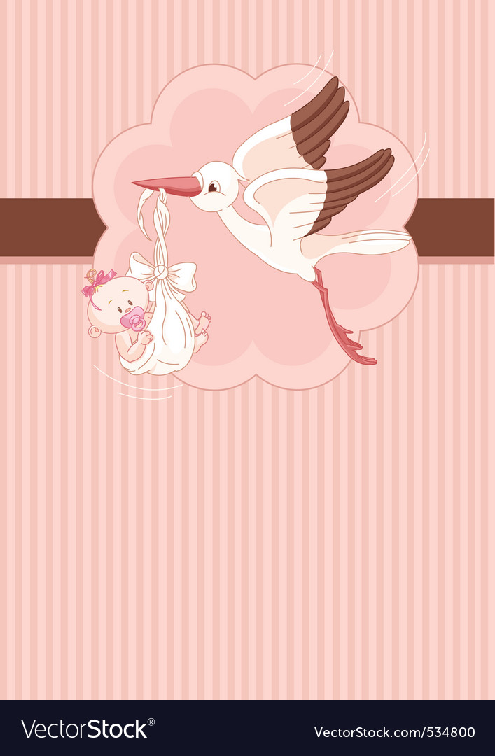 A place card of a stork delivering a newborn baby