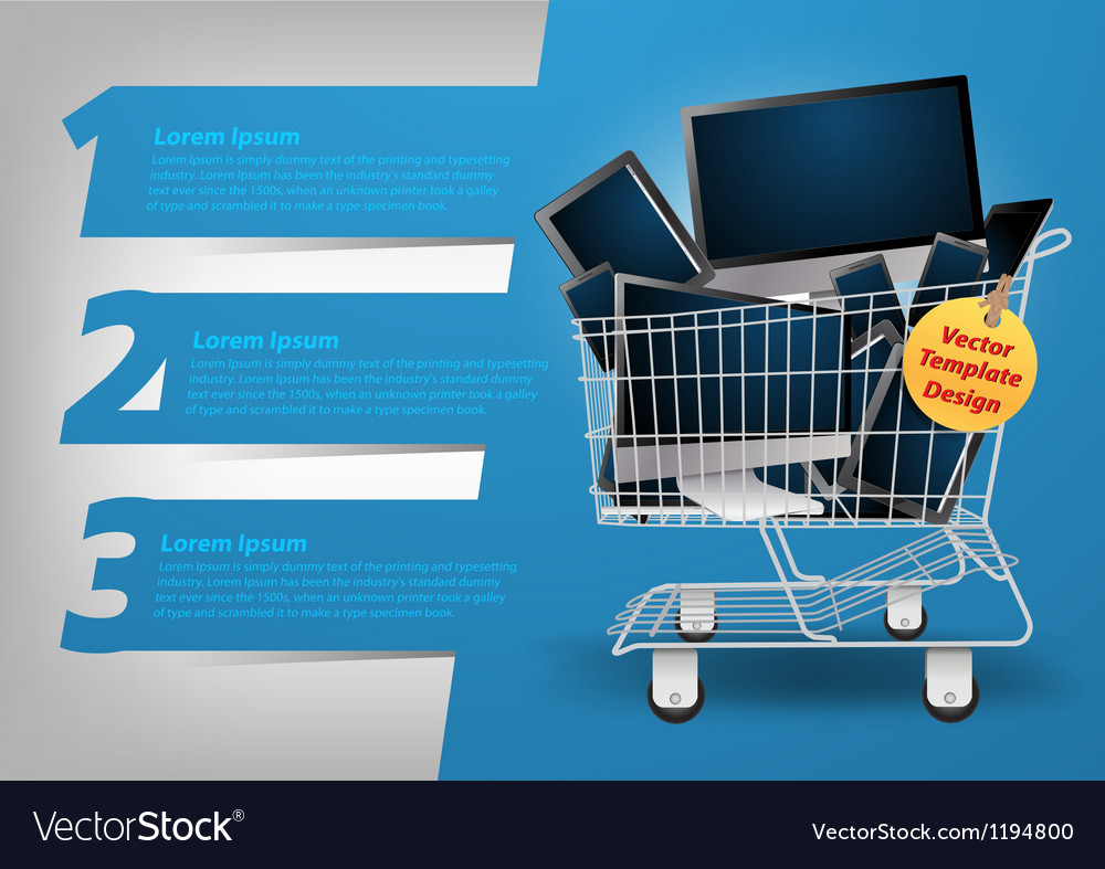 Computer concept in the shopping cart vector image